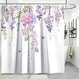 Wisteria Lila Blume Duschvorhang, TANOSAN Rosa lila Blumen Badevorhang mit 12 Haken, Purple Weeping Blossom Muster Vorhang zur Dusche 3D Digitaldruck Shower Curtain 175 * 175 cm