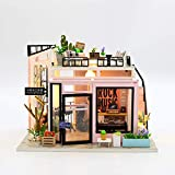PLC DIY Miniature Dollhouse Kit Tiny Furniture Modern Music Studio with Music Movement Best Gift with LED 1:24 Scale with Green Plants and Instruments Building Miniature Kit