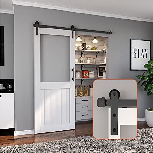 ZEKOO 4 FT Traditional Sliding Barn Door Hardware Flat Track Antique Style Use for Single Door