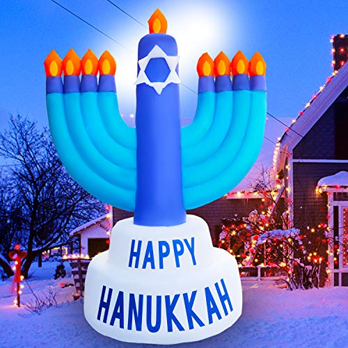 SEASONBLOW 8 Ft LED Inflatable Hanukkah Menorah Decoration for Home Garden Lawn Yard Indoor Outdoor