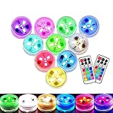 Small Submersible LED Lights Mini Waterproof LED Tea Lights Candles Multi-color Battery Powered with Remote Control Party Events Home Vase Swimming Pool Pond Decoration Lighting -10PACK