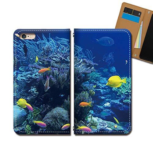 Android One S6 ケース スマホケース 手帳型 ベルトなし 海 スクーバダイビング 熱帯魚 サンゴ 手帳ケース カバー バンドなし マグネット式 バンドレス EB297030114805