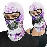Zhark Macetero de flores violetas con pintura de salpicadura de pasamontañas cara Ma-sk protección UV capucha resistente al viento máscara táctica para esquí ciclismo pesca al aire libre Caza
