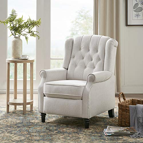 YANXUAN Pushback Recliner Chair, Recliner Armchair with Padded Seat, Footrest, Cream