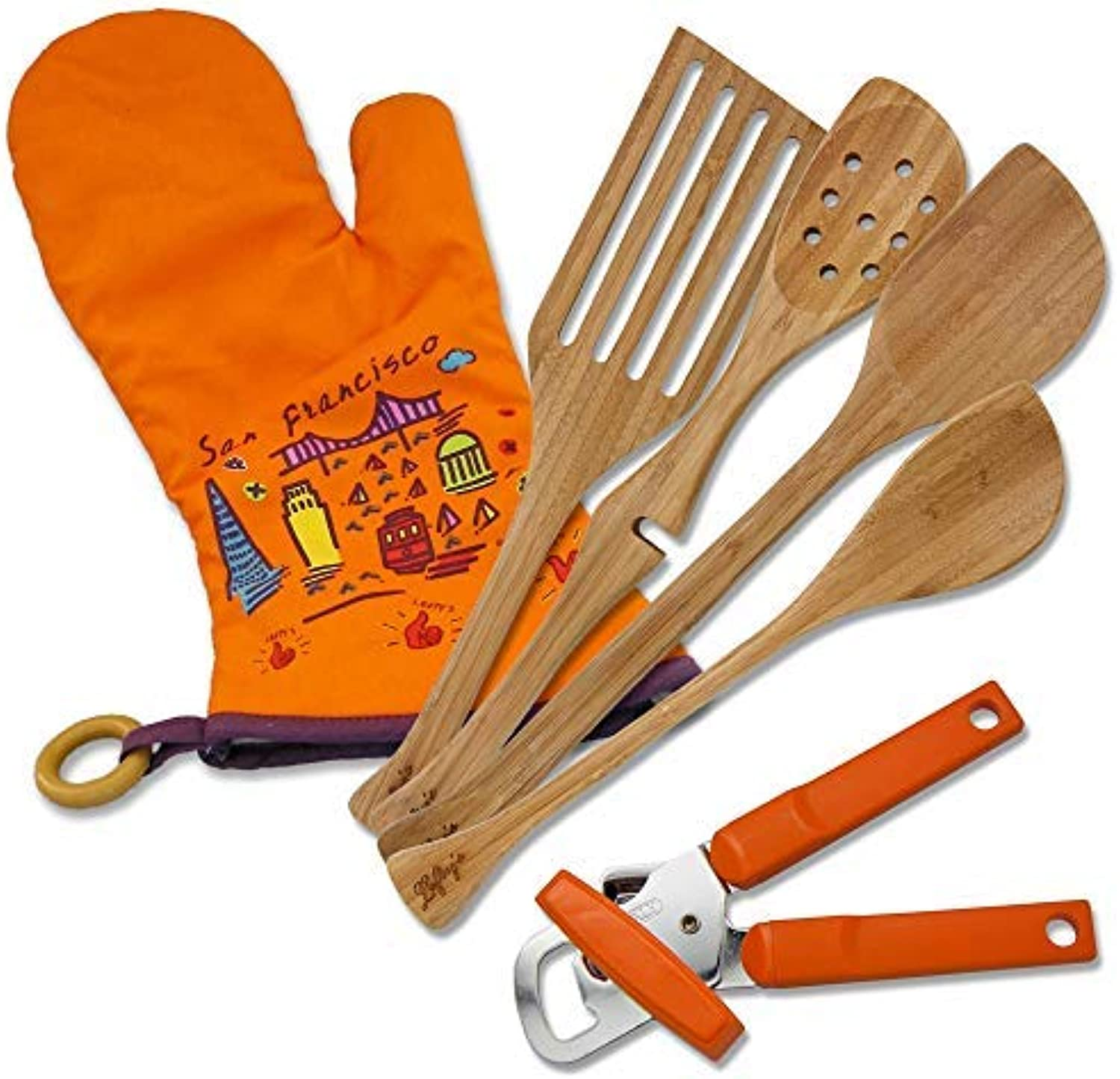 Lefty's Kitchen Tool Set Includes Left Handed Can Opener, 4 Bamboo Utensils, and orange Mitt 6 Pcs.