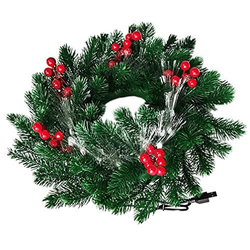 HAOJON Guirnalda de Navidad preiluminada con Bayas Rojas y Guirnalda de Guirnalda de Puerta Delantera Artificial Ligera para decoración de Ventana de Pared de Vacaciones Xams