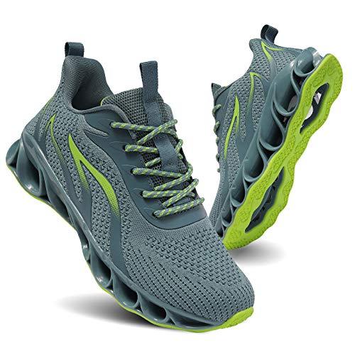 TIAMOU Zapatillas de correr para mujer, para caminar, para tenis, con hoja antideslizante, ligeras, transpirables, I 91Emerald Green, 38 EU