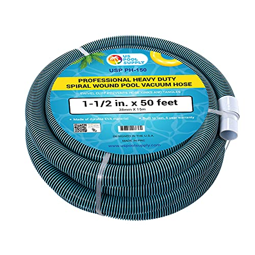 """U.S. Pool Supply 1-1/2"""" x 50 Foot Professional Heavy Duty Spiral Wound Swimming Pool Vacuum Hose with Kink-Free Swivel Cuff, Flexible - Connect to Vacuum Heads, Skimmer, Filter Pump Inlet, Accessories"""