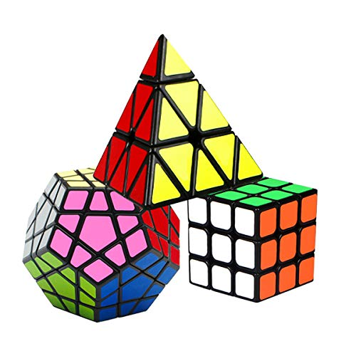 Coolzon Cubo de Velocidad, Puzzle Cubes Set de 3x3 + Pyraminx Megaminx, Speed Cube Juego de Puzzle para Niños Adultos, Paquete de 3