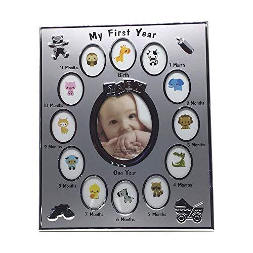 Sungpunet Marco de Plata de la aleación de Aluminio Creativo bebé de la Foto de mi Primer año Marco de Fotos Marco de Fotos Marco de bebé Multi Niños de la Foto del Regalo de cumpleaños 1Ponga