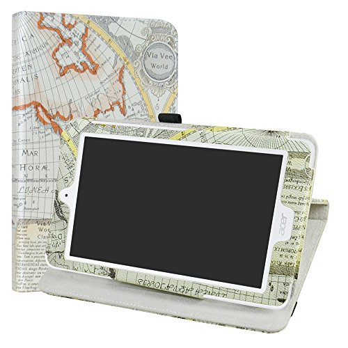 Acer Iconia One 8 B1-850 Rotating Case,LiuShan 360 Degree Rotation Stand PU Leather With Cute Pattern Cover for 8' Acer Iconia One 8 B1-850 / B1-870 Android Tablet,Map White
