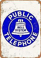 ベルシステム公衆電話ティンサイン壁鉄絵レトロプラークヴィンテージ金属シート装飾ポスター面白いポスターぶら下げ工芸品バーガレージカフェホーム