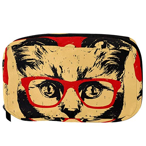 TIZORAX Cosmetic Bags Cat With Red Glasses Red Handy Toiletry Travel Bag Organizer Makeup Pouch for Women Girls