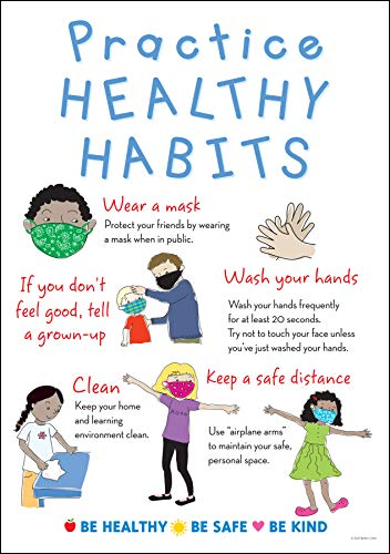 Barker Creek Be Healthy Poster, Healthy Habits, Covid 19 Poster Explaining Importance of Healthy Habits with Child-Friendly Terms and Illustrations, Office, Home, & School Health, 13-3/8' x 19' (1874)
