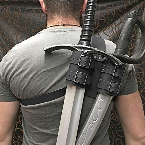 TZH Cinturón De Espada Medieval con Correa para El Hombro Soldado Guerrero Soporte De Rana para Espada Doble Al Aire Libre Funda De Espada De Cuero Ajustable para Juegos De rol En Vivo,Marrón