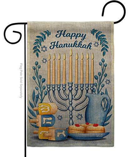 Angeleno Heritage Happy Hanukkah Burlap Garden Flag Winter Candle Bonsai Menorah Jewish Chanukah David House Decoration Banner Small Yard Gift Double-Sided, 13'x 18.5', Made in USA