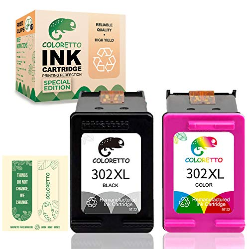 COLORETTO Cartucho de Tinta Remanufacturado para HP 302XL 302 XL Compatible con Deskjet 1110 2130 2132 2134 3630 3830 3835 4658 5232 (Edición Especial Incluye 2 marcapáginas) (1 Negro,1 Tricolor)