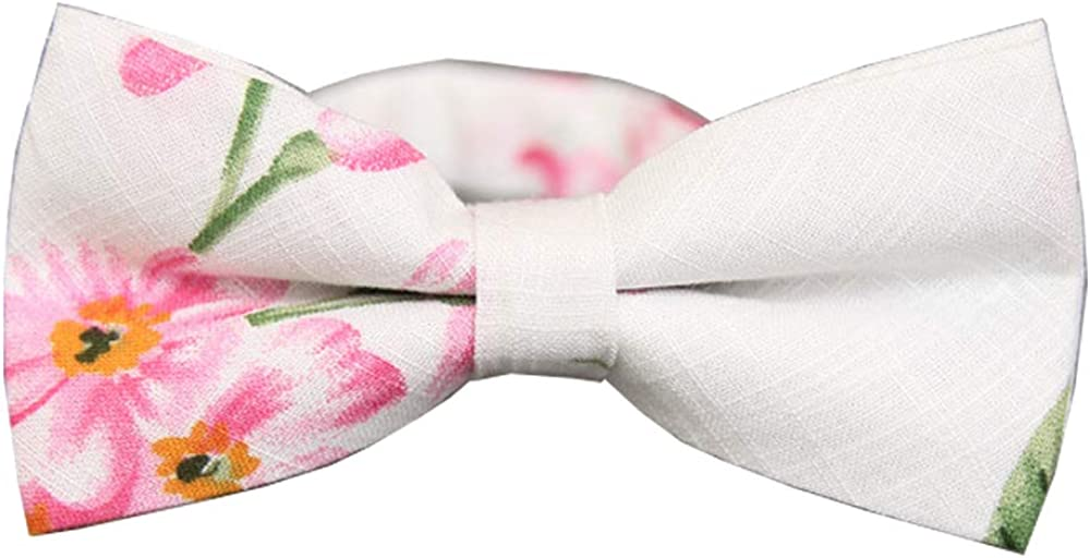 D&L Menswear Men's Pre-Tied White Pink Spring Blossom Floral Bow Tie Adjustable Neck Bowtie
