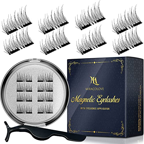 Dual Magnetic Eyelashes, Segmented False Eyelashes, 3D Reusable Eyelashes with Applicator Kit, No Glue, Easy to Apply, Light weight, Natural Look, (8 PC with Tweezer, 0.55 inch/14mm)
