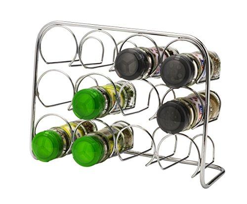 Estante de especias Pisa®, soporte de metal cromado, metal, 12 Jar Capacity