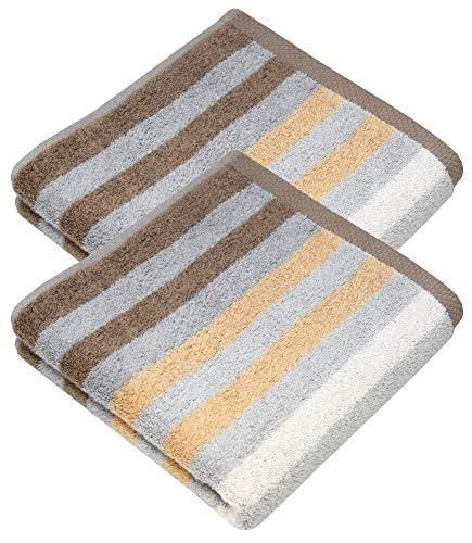 Lashuma Frottee Handtuch 2er Geschenkset, Gestreifte Baumwollhandtücher Farbe Sand - Beige, Größe: 50 x 100