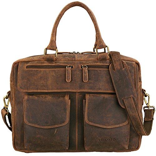 STILORD 'Kansas' schoudertas leder 15,6 inch laptoptas vintage heren schoudertas groot uni kantoor, Kleur:middel - bruin