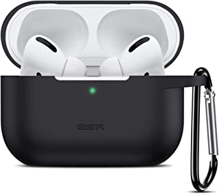 ESR Upgraded Protective Cover for AirPods Pro Case, Bounce Carrying Case with Keychain for 2019 AirPods Pro Charging Case [Visible Front LED] Shock-Absorbing Soft Slim Silicone Case Skin (Black)