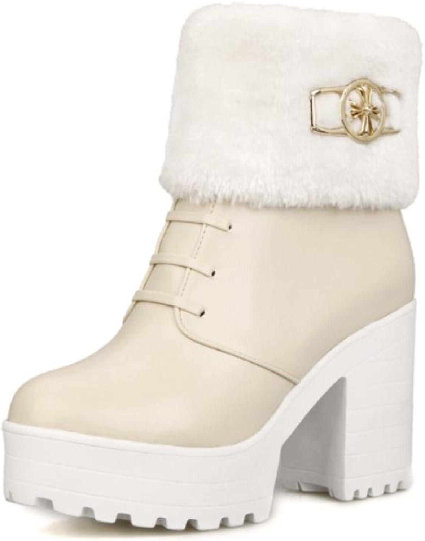 Best 4U® 4U® 4U® Damenschuhe Premium PU Faux Pelz Chunky Heels Martin Stiefel Runde Zehe Reißverschluss Keile Casual Style , Beige , 37  905445