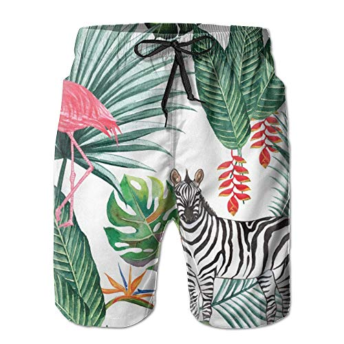 Qfunny Nature Zebra Flamingo Leaf Men's Quick Dry Beach