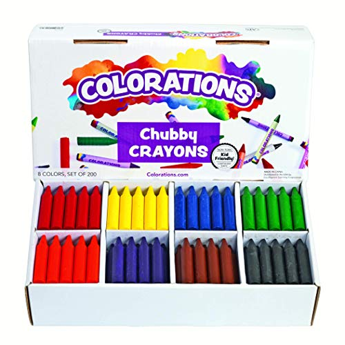 Colorations Chubby Crayons for Kids Set of 200 Rainbow Crayons Classroom Supplies (2-11/16'L x 9/16'Dia), Yellow, Model Number: CRCHB