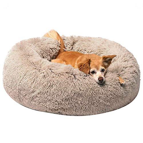 Hongyans Cuccia per Cani Gatti Letto per Cani Gatto Rotondo Cuscino Lettino Donut Peluche Morbido da Interno Animale Domestico con Fondo Antiscivolo, Lavabile