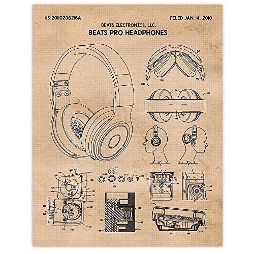 Vintage Beats by Dr Dre Headphones Patent Poster Prints, Set of 1 (11x14) Unframed Photo, Wall Art Decor Gifts Under 15 for Home, Office, Man Cave, College Student, Teacher, Coach, DJ & Music Fan