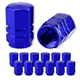 JUSTTOP Car Tire Valve Stem Caps, 12pcs Air Caps Cover, Universal for Cars, SUVs, Bike, Trucks and Motorcycles-Blue