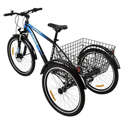 Viribus Dreirad für Erwachsene 24 Zoll Fahrrad mit 3 Rädern 7 Geschwindigkeit Lastenfahrrad mit Großem Fahrradkorb (Blau)