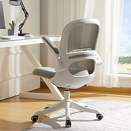 BERLMAN Ergonomic Mid Back Mesh Office Chair with Flip-up Arms and Adjustable Height Desk Chair Anchor Chair Student Chair (White&Grey)