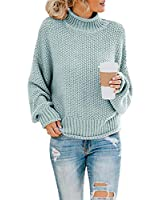 AntcolonY Womens Oversized Turtleneck Knit Sweaters Casual Chunky Baggy Pullover Batwing Long Sleeve Loose Tops (A-Blue, L)
