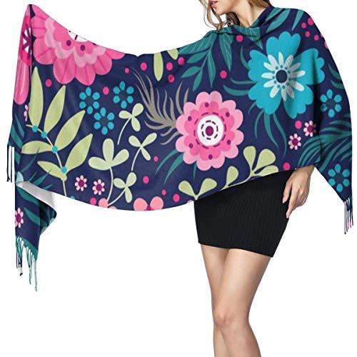 Pequeñas flores coloridas Moda para mujer Mantón largo Flores pequeñas y coloridas Bufanda de cachemira Invierno Cálido Bufanda grande Caja de regalo