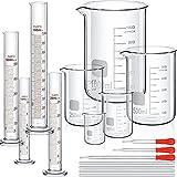 Set de Cilindro Graduado de Laboratorio (10 ml, 25 ml, 50 ml, 100 ml) Vaso de Precipitado Cristal (50 ml, 100 ml, 250 ml, 500 ml, 1000 ml) con 3 Goteros 4 Varillas de Agitar en 7,9 Pulgadas