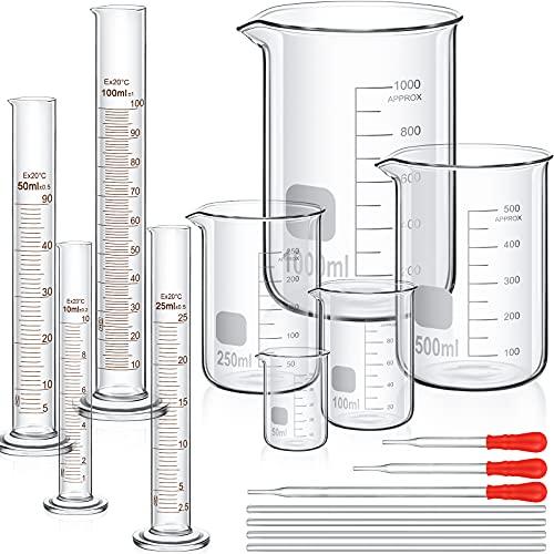 Absolviert Zylinder Becherglas Set, Dick Labor Zylinder (10 ml, 25 ml, 50 ml, 100 ml), Becherglas (50 ml, 100 ml, 250 ml, 500 ml, 1000 ml) mit 3 Glas Tropfern und 4 Glas Rührstab in 7,9 Zoll