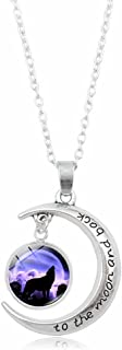 I Love You To The Moon And Back Howling Wolf Pendant Necklace Gift for Women Girls Kids