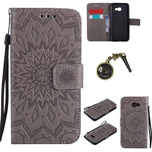 für Smartphone Samsung Galaxy A5 2017 Hülle, Leder Tasche für Samsung Galaxy A5 2017 Flip Cover Handyhülle Bookstyle mit Magnet Kartenfächer Standfunktion (+ Staubstecker) (5)