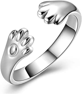 Silver Plated Kitty Cat Dog Paw Ring Open Ring Adjustable for Women Girl Child Lovely Gifts