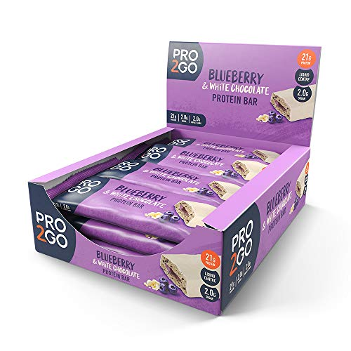 PRO 2GO, High Protein Bars, Blueberry & White Chocolate, 12 x 60g Bars