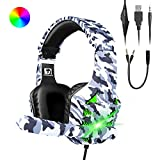 MAMBASNAKE PS4 Gaming Headset with Noise-cancellation Retractable Mic, over-ear 3.5mm USB Wired headphone with...