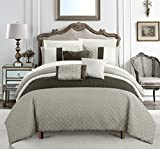 Chic Home Osnat 10 Piece Comforter Set Color Block Quilted Embroidered Design Bed in a Bag Bedding – Sheets Decorative Pillows Shams Included Queen Brown