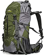 Loowoko Hiking Backpack 50L Travel Camping Backpack with Rain Cover for Outdoor (Green)