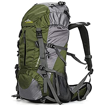 Loowoko Hiking Backpack 50L Travel Camping Backpack with Rain Cover - No Internal Frame  Green