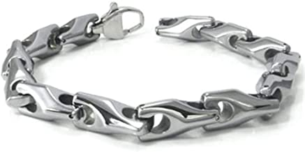 Titanium Kay Tungsten Carbide Men's Wheat Link Bracelet