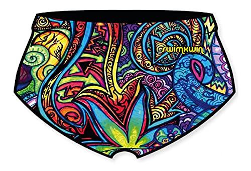 SWIMXWIN Slip Paripierna Square Cut Swim Trunks - Bañador para piscina, playa, sol, natación, entrenamiento, diseño italiano, Hombre, Trippy, L