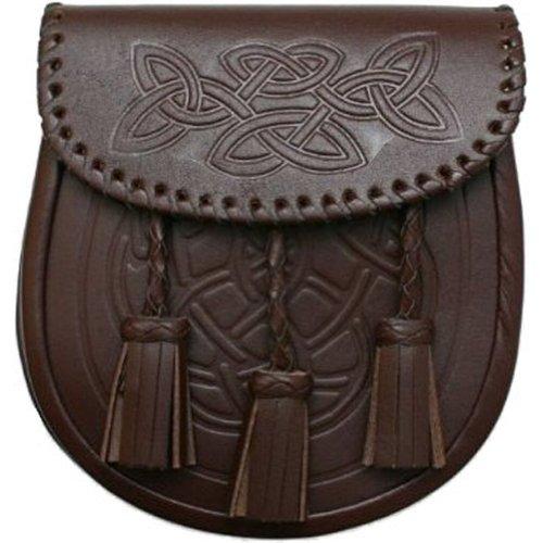 Tartanista Mens Everyday Brown Celtic Pattern Sporran & Belt